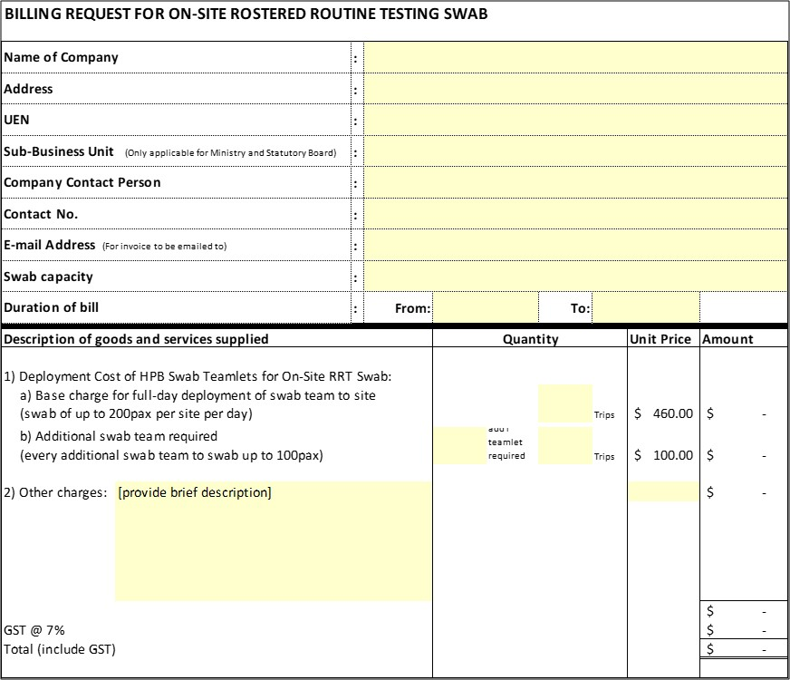 Billing request for on-site rostered routine testing swab